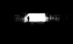 Salvation... (Jungleland Is Home) Tags: blackandwhite light dark darkness hope fear salvation tunnel streetphotography street shadows silhouette monochrome