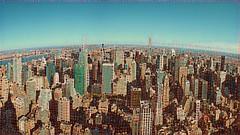 Panoramic View of Uptown in New York City, USA ([ PsycBob ]) Tags: new york city nyc newyork panorama drawing bild zeichnung skizze sketch points punkte art kunst blue sky blauer himmel us usa amerika