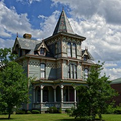 AN OLD BEAUTY (NC Cigany) Tags: mansion home color house scotlandneck nc trees residential clouds sky porch