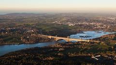 The crossing - Britannia Bridge, Anglesey, Wales, UK (alejandro.romangonzalez) Tags: britanniabridge anglesey wales uk landscape menaistrait menaibridge bangor sunset aerial aerialphotography strait sea bridge