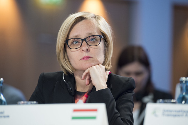 Szilvia Erb listening in at the Closed Ministerial