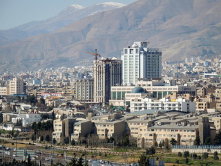 Tehran clean city skyline and urban development of Iran