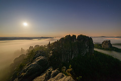 Midnightsun (derliebewolf) Tags: landschaft natur wald nightscape stars moon hiking nature landscape uwa ultrawide d800 germany nationalpark saxonswitzerland mountains midnight night fog clouds light lights longexposure travel sleepless