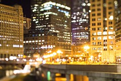 chicago illinois tilt effect cityscape at night (DigiDreamGrafix.com) Tags: city night cityscape chicago lights red colors nightlife entertainment design shopping event art travel scene elements architecture building downtown urban cars nighttime street culture american famous theater trip america arts cities streets neon de shops outing illinois mini miniature tilt shift