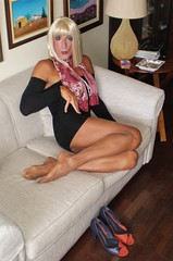 Karen (Karen Maris) Tags: tg tgirl tgurl karen legs feet pantyhose tights transsexual transvestite transgender blonde crossdress crossdresser scarf sheer