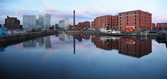 Canning Dock Sunset Panorama (.annajane) Tags: canningdock dock dusk liverpool merseyside oneparkwest panorama pumphouse reflection sunset water canninghalftidedock uk england liverpoolone merseysidemaritimemuseum