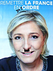 Marine La Peste (knightbefore_99) Tags: pest plague bubonic ad poster deface folitician french sad liar pathetic rightwing fascism racism disorder national front mustache election trumpist