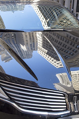 LaSalle Street Canyon (Tim Brown's Pictures) Tags: chicago illinois lincolnautomobile limousine reflecction skyline train trainstation alexandercalder searstower willistower