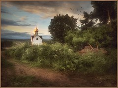 The village of Istomino. (odinvadim) Tags: mytravelgram paintfx textured textures iphone editmaster travel iphoneography sunset evening iphoneonly church painterly artist snapseed landscape photofx specialist iphoneart graphic painterlymobileart