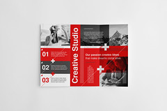 Swiss Style Trifold Brochure (Snowboy Design) Tags: brochure business businessbrochure clean company corporate creative educational helvetica indesign internationaltypographicstyle keyvisual modern modernism multipurpose museum neue print printready professional red school studio summit swiss swissstyle template trifold