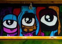 All Seeing (Steve Taylor (Photography)) Tags: eye cartoon lamp light art graffiti mural streetart colourful vivid uk england london outline