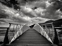 Walk this way (georgekells) Tags: northernireland ulster countydown mournemountains seaside beach stormy cloudy intemperate rainy blackandwhite monochrome windy sea
