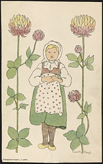 Barnemotiv av Lisbeth Bergh / Child by Lisbeth Bergh (National Library of Norway) Tags: nasjonalbiblioteket nationallibraryofnorway postkort postcards lisbethbergh kunstnerkort barn children blomster flowers