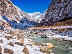 Modi Khola River on the trail to Annapurna Basecamp, Himalayas, Nepal (CamelKW) Tags: abc annapurnabasecamptrek annapurnaregiontrek kathmandu mbc machapuchare machapucharebasecamp nepal pokhara