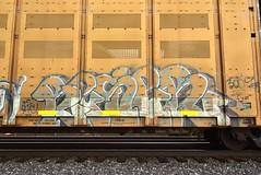 RESER (TheGraffitiHunters) Tags: reser graffiti graff spray paint street art colorful freight train tracks rolling canvas painted steeel autoracks racks beser ribbet