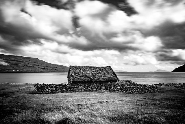 A house in a fjord of Streymoy B&W - Faroe Islands