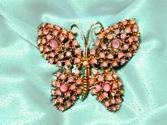 Pink Butterfly (M.P.N.texan) Tags: vintage brooch pink rhinestone rhinestones jewelry accessory