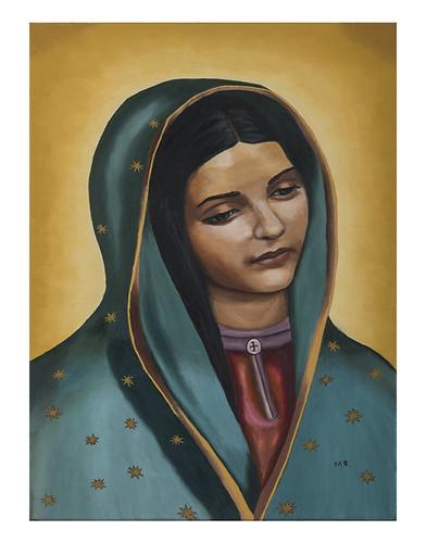 Autor: MA GUADALUPE RIVERA ROSAS, La morenita  40x60 cm