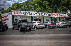 Mas Tacos (donnieking1811) Tags: tennessee nashville eastnashville mastacos restaurant worldfamous delicious iatehere building exterior sign trees sky clouds cars trucks hdr canon 60d lightroom photomatixpro