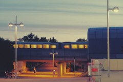 Supermarket trolley blues (No_Mosquito) Tags: twilight evening summer vienna austria city urban underground subway public transportation canon powershot g7xmarkii sky clouds lines supermarket trolley lights street marvelscine