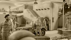Joe Gunn with Bantam Jeep (WesternOutlaw) Tags: ratpatrol kingcountry kingandcountry montgomery m3 granttank m3grantcruiser m3tank grantcruiser 130 130scale 7tharmoreddivision 7tharmoureddivision desertrats afrikakorps afrikakorpsdiorama icecoldinalex seaofsand sahara playdirty desertpatrol lrdg