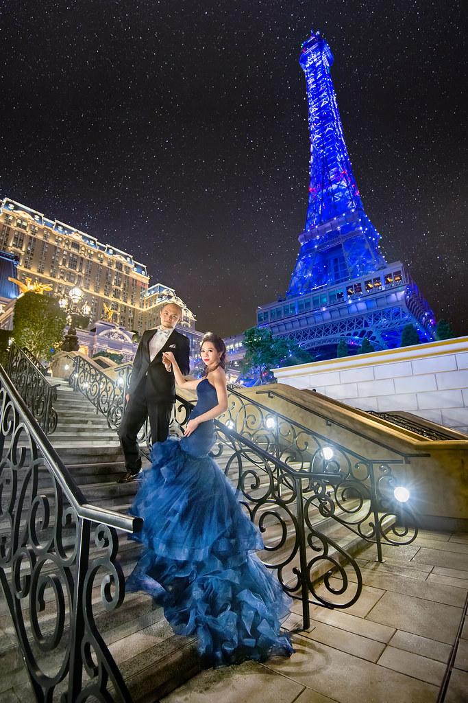 澳門婚紗,澳門夜景婚紗,澳門巴黎人酒店,假巴黎鐵塔,婕詩婚紗,婕詩禮服
