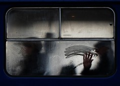 Finger painting (Mikhail Korolkov) Tags: tram window street silhouettes palm fingers painting fujifilm xe2 xc50230