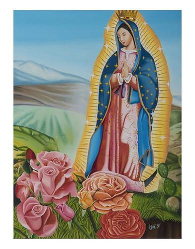 Autor: ITZEL ANGELICA REYES COTA, Virgen morena  50x70 cm