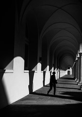 ghost castle (/ urban.fishing /) Tags: dresden castle silhouette ghost repetition schloss humaningeometry architecture shadow light bw contrast lines graphic walk archway arch