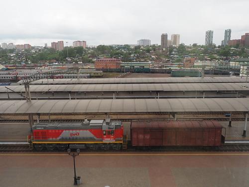 Krasnoyarsk station RZD TEM18DM-1071 shunter ©  trolleway