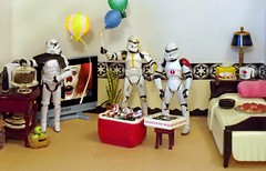 It's artyPay imeTay on the Death Star! (ChicaD58) Tags: dscf9573b starwarsactionfigures actionfigures stormtrooper clonetrooper tk1110 tk432 stb stormtrooperbruce tv plant balloons pie lamp tissue mug bed pillow plates pizza cooler brewskies soda stool apples burgers cake cakestand coffeemaker commemorativedarthbottleofscotch handmadeheliuimballoons endtables piglatin