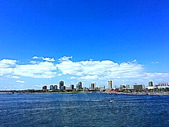 Long Beach, California (WorldExplorations) Tags: summer sunshine clouds whiteclouds sky bluesky landscape citylandscape water bay queenswaybay shore shoreline westcoast pacific coast ocean pacificocean pacificcoast socal ca california longbeach