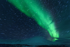 Star Trails and Aurora Borealis in Western Iceland (diana_robinson) Tags: startrails auroraborealis westerniceland iceland nightphotography northernlights snow mountains stars nightsky greenlights winter