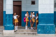 School girls (I saw_that) Tags: hav havana schoolgirl girl student cuba uniform street blue pink school bag backpack