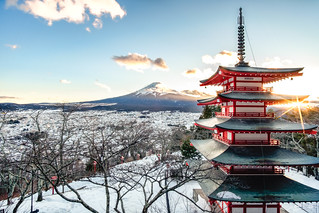 FUJI san in sunset with red pagoda at japan