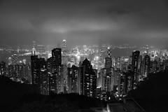 HK by Night (Carl Mick) Tags: night tower landscape lights ngc blackandwhite hsbc travel streetphotography mono hongkong cityscape hk starferry city