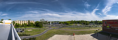 Panorama high resolution quality test (Juliusz_Kwiatkowski) Tags: panorama torun plaza sky neighbourhood street poland volleyball field sand grass tree trees parking lot high res resolution