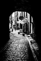 Taste of Stockholm7. Love Alley. (wes_f_hunt) Tags: grain black monochrome fuji xe2 x white stockholm gamla stan street travel photography city candid 1855