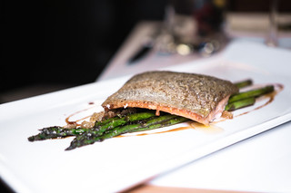 Rainbow Trout - roasted asparagus, sherry vinegar caramel, lemon migas