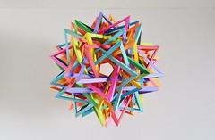 """K10"" Twenty Interlocking Tetrahedra #4 (Byriah Loper) (Byriah Loper) Tags: origami modularorigami modular origamimodular byriahloper byriah paperfolding paper polyhedron polygon wireframe compound complex 20tetrahedra interlocking woven"