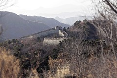 Hazy winter morning on the Chinese Wall (Joost10000) Tags: china landscape scenic nature natur beauty mist trees mountains wall chinesewall greatwall chinese fortification defense canon canon5d eos landschaft haze construction explore tree epic fortress