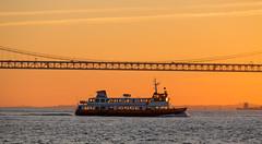 Sunset on the River (Infomastern) Tags: 25deabrilbridge 25thofaprilbridge lisboa lisbon lissabon ponte25deabril portugal riotejo river tagus tagusriver bridge bro flod ponte vatten water
