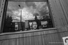 family (ignacy50.pl) Tags: girl women child family train car window reflections old monochrome blackandwhite reportage poland ignacy50 openair museum