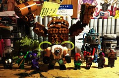 Lego Batman Movie Villains (LordAllo's Belle Reve) Tags: dc the lego batman movie villains penguin killer croc riddler catwoman bane clayface poison ivy harley quinn mister freeze twoface scarecrow background