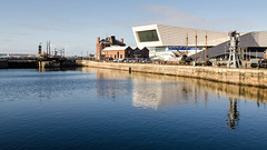 Museum of Liverpool and Canning Dock (Joe Dunckley) Tags: canningdock england lancashire liverpool liverpooldocks merseyside museumofliverpool uk architecture bluesky building dock harbour industrial industry modernarchitecture reflection sky sunny water