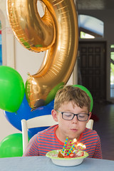 Happy 9th Birthday (aaronrhawkins) Tags: birthday happy cake candles boy nine 9 years old balloon ballons flame blow joshua celebration party bowl presents older grow aaronhawkins