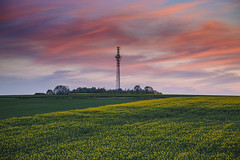 The longest day (kubaszymik) Tags: sunset night evening clouds highiso iso canon gliwice poland bojków fields tower green yellow dusk hdr high dynamic range