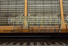 ? (TheGraffitiHunters) Tags: graffiti graff spray paint street art colorful freight train tracks benching benched racks autoracks ribbet