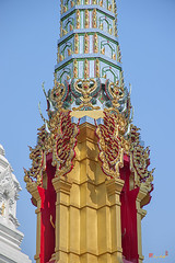 Wat Khunchan Merit Shrines Middle of One of Three Prangs or Chedi (DTHB2027) วัดขุนจันทร์ กลางๆของหนึ่งในของ สามปรางค์หรือเจดีย์ ศาลาทำบุญ
