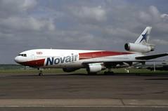 G-BJZE. Novair Douglas DC-10-10 (Ayronautica) Tags: ayronautica aviation novair prestwick pik egpk douglasdc1010 airliner scanned gbjze